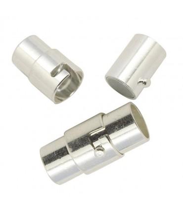 Fermoir aimanté à vis colonne Design 15,5x7 mm (5 pièces) - Argenté