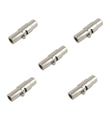 Fermoir aimanté en laiton à vis colonne 15x4 mm (5 pièces) - Argenté