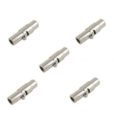 Fermoir aimanté en laiton à vis colonne 15x4 mm (5 pièces) - Gris