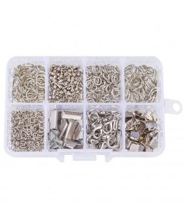 Kit de fermoirs, anneaux et accessoires de finition - Gris