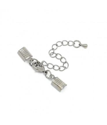 Kit fermeture bracelet collier ruban cordon 50 mm (5 pièces) - Argenté