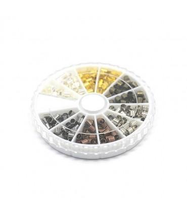 Boite de perles à écraser 6 couleurs 3x3mm (420 pièces)