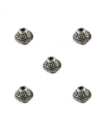 Perles toupie tibétaines en métal 6.5 x 7 mm - Argenté