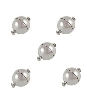 Fermoir magnétique Sphère en laiton 19 x 12 mm (5 pièces) - Gris