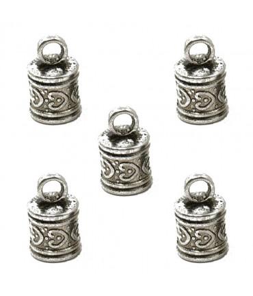 Embout pour cordon et fil Tibétain 16 x 10 mm (5 pièces) - Argenté