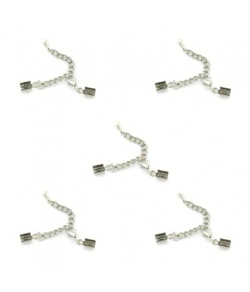 Kit fermeture bracelet collier ruban cordon 80 mm (5 pièces)