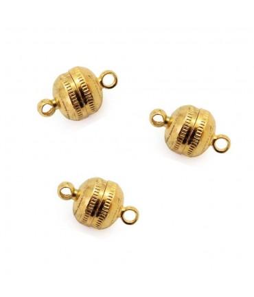 Fermoir magnétique rond en laiton 11 x 7 mm (5 pièces) - Doré