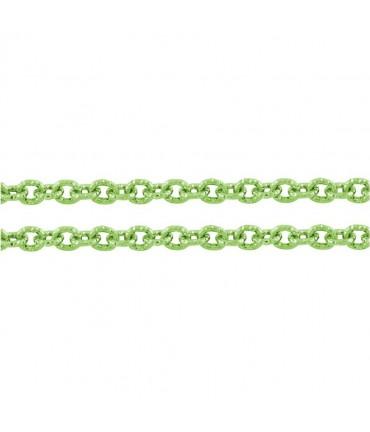 Chaine bijoux à mailles forçat 7 x 6 mm (1 mètre) - Vert pomme