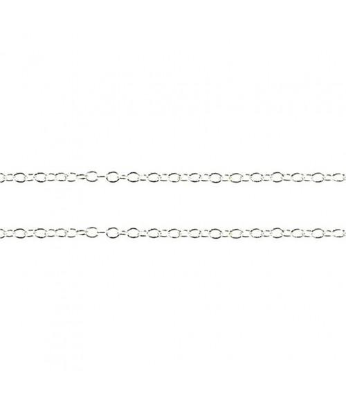 Chaine bijoux petites mailles jaseron 2 x 1,5 mm (1 mètre)