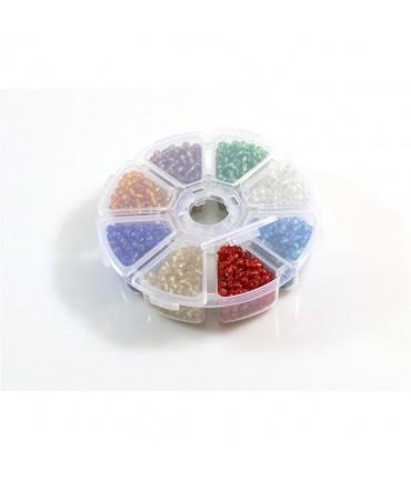 Boite de perles de rocaille en verre 3 mm