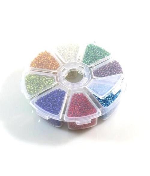 Boite de perles de rocaille en verre 2 mm