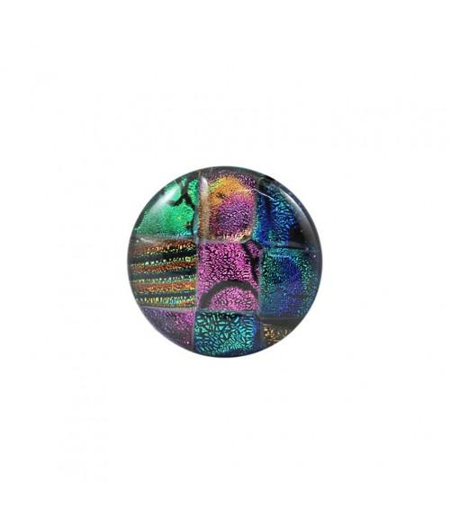 Cabochon verre dichroique rond Rainbow 14 mm (1 pièce)