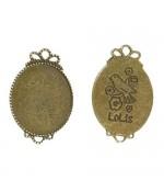 Support cabochon, connecteur Miroir 34 x 23,5 mm (1 pièce) - Bronze