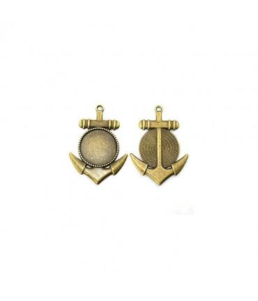 Breloque support cabochon Ancre 45 x 32 mm (1 pièce) - Bronze