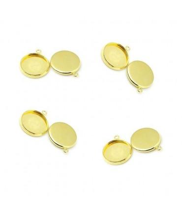Support cabochon pendentif 19 x 16 mm (10 pièces) - Doré