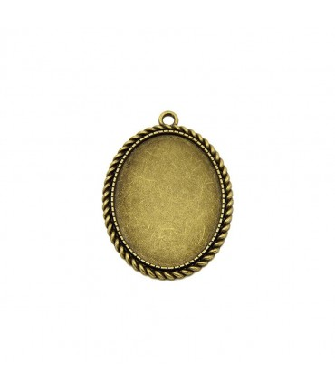 Support cabochon pendentif Héléna 51 x 37 mm (1 pièce) - Bronze