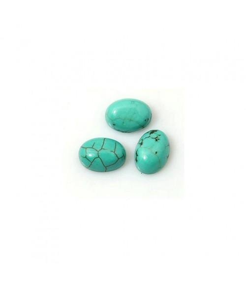 Pierre synthétique turquoise ovale 8 x 6 mm (5 pièces)