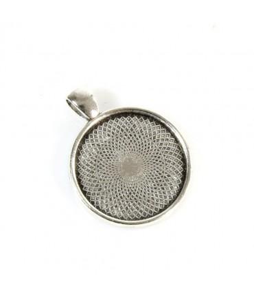 Support cabochon pendentif Rosace 36 x 28 mm (1 pièce) - Gris