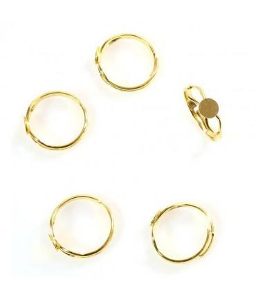 Support bague fimo anneau réglable Tamis 6 mm (5 pièces) - Doré