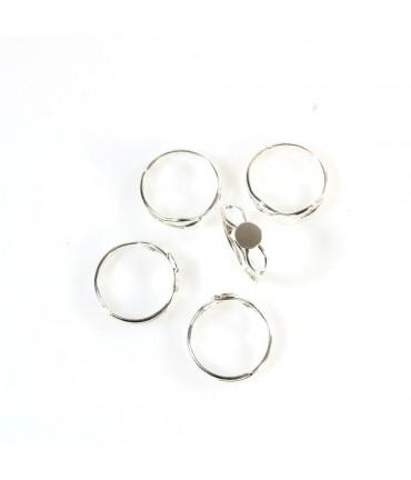 Support bague fimo anneau réglable Tamis 6 mm (5 pièces) - Argenté