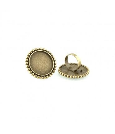 Support cabochon bague Daisy plateau rond 34 mm (1 pièce) - Bronze