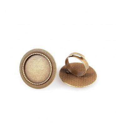 Support cabochon bague Victoria plateau rond 28 mm (1 pièce) - Bronze