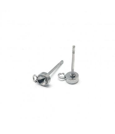 Clous d'oreilles support cabochon 13 x 4 mm (5 pièces) - Gris
