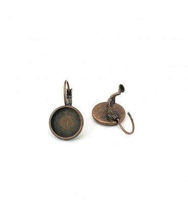 Boucles dormeuses support cabochon 25 x 14 mm (5 pièces) - Cuivre