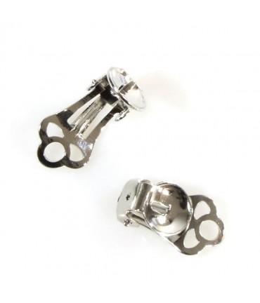 Clip d'oreille support fimo 15 x 9 mm (2 pièces) - Gris