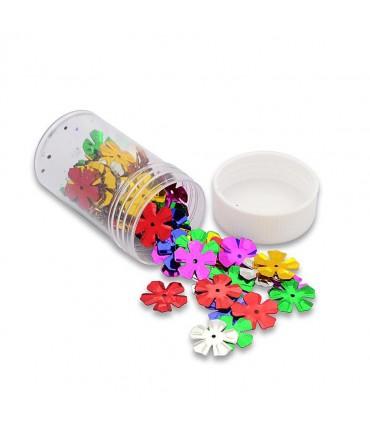 Flacon de perles paillettes fleurs 13 ,5 mm (60 pièces) - Multicolore