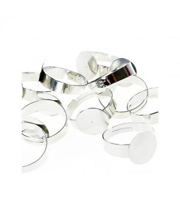 Supports de bagues réglables pour la création de bijoux tamis 12 mm (10 pièces) - Argenté