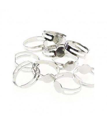 Supports de bagues réglables pour la création de bijoux tamis 8 mm (10 pièces)