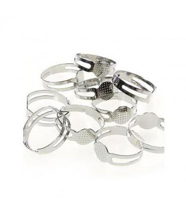 Supports de bagues réglables pour la création de bijoux fimo Tamis 8 mm (10 pièces) - Gris