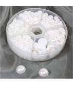 Kit cabochons perles crème grandes tailles (650 pièces) - Blanc