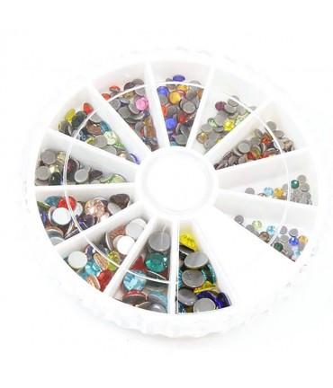 Kit strass couleurs vives plusieurs tailles (450 pièces)