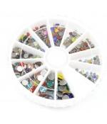 Kit strass couleurs vives plusieurs tailles (450 pièces) - Multicolore