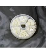 Kit accessoires fleurs nacrées à coller (240 pièces) - Beige