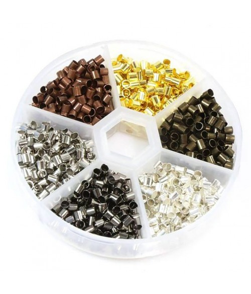 Boite de perles à écraser 6 couleurs 3 mm (1200 pièces)