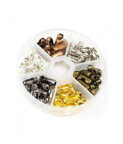 Kit de fermoirs de chaine à billes 12mm en 6 couleurs (90 pièces)