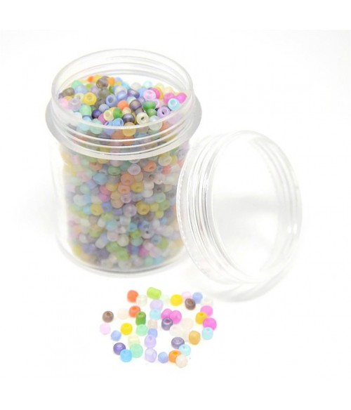 Perles de rocaille couleurs givrées 2,5 mm (1580 pièces)
