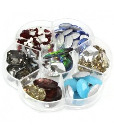 Kit cabochons en verre formes variées (70 pièces) - Multicolore