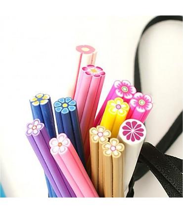 Canes fleurs en pâte polymère pour ongles et bijoux (10 pièces) - Multicolore