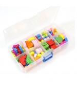 Boite de breloques fantaisie en bois (80 pièces) - Multicolore