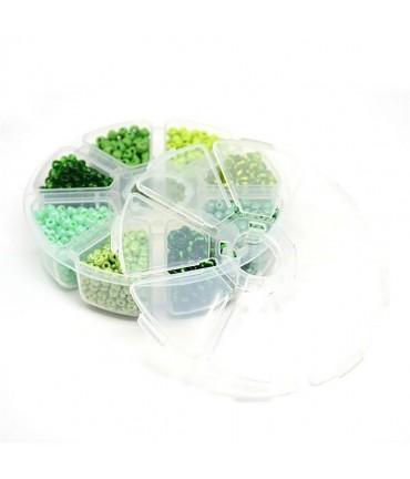 Kit perles de rocaille Tons de Vert 4 mm (1600 pièces) - Vert