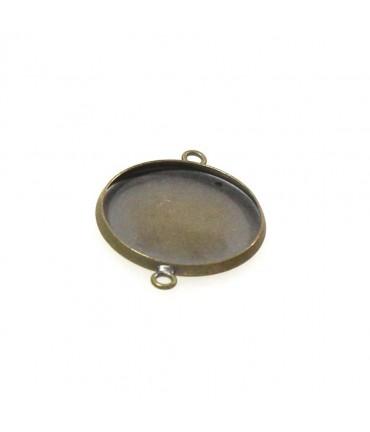 Kit cabochon verre support rond lien 25,5 x 20 mm (5 pièces)