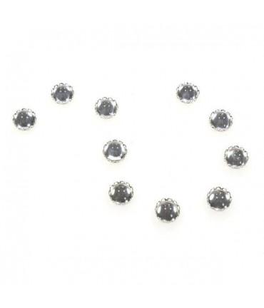Kit cabochon verre support rond dentelle 11 mm (10 pièces) - Argenté