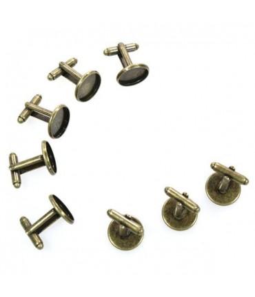 Kit bouton de manchette cabochon 27 x 16 mm (10 pièces) - Bronze