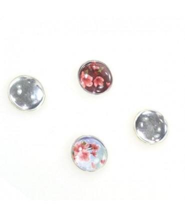 Kit cabochon verre et support rond plat 22 mm (10 pièces) - Argenté