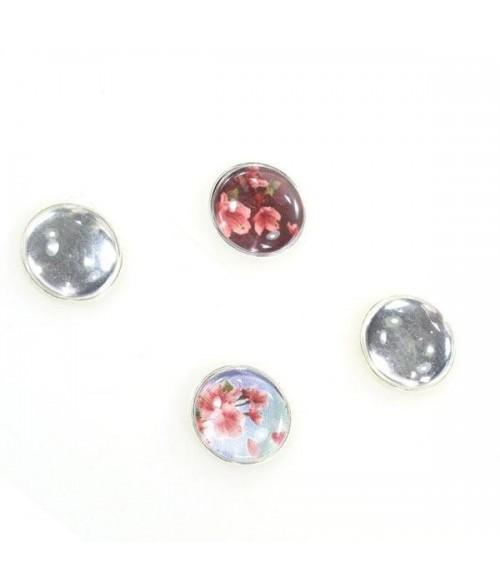 Kit cabochon verre et support rond plat 22 mm (10 pièces)
