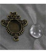 Kit cabochon verre support Daisy 39 x 28 mm (10 pièces)
